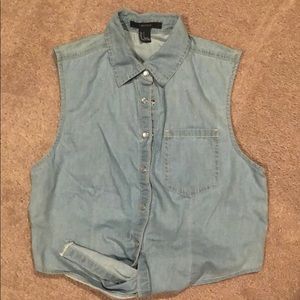 Denim look vest